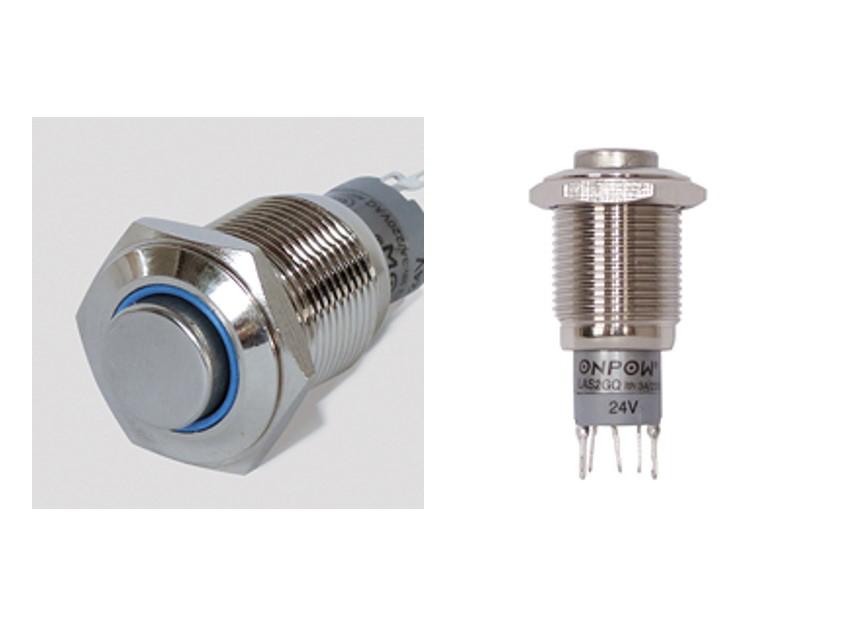 Vollmetalltaster-LED-beleuchtet-Blau-Offner-Schliesser-Klingeltaster-Taster