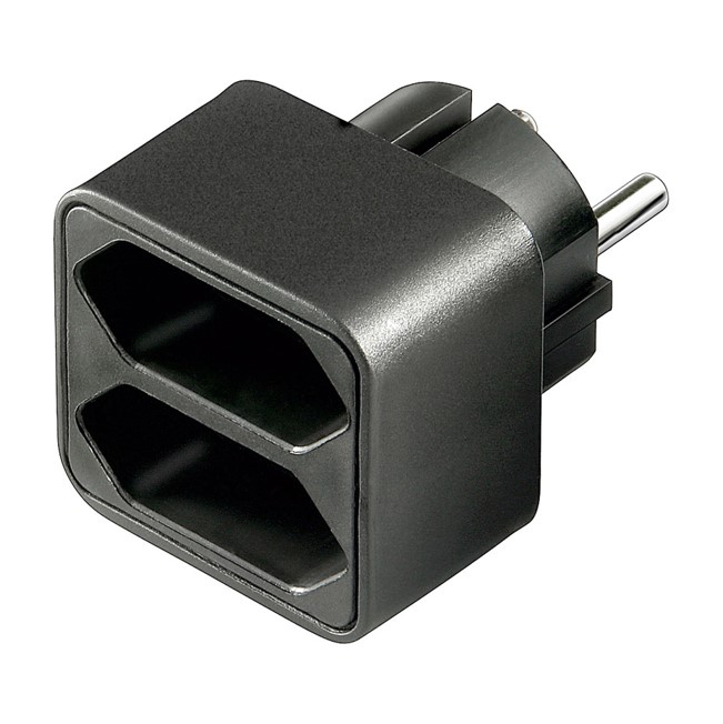 euro doppelsteckdose adapter 1 x schuko stecker 2 x euro buchse schwarz 4402 ebay. Black Bedroom Furniture Sets. Home Design Ideas